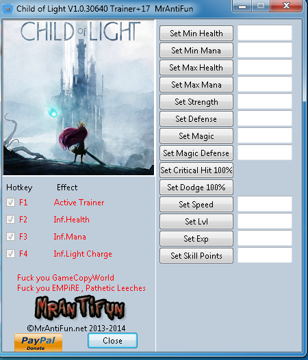 Child of Light Trainer Free Download