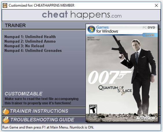 James Bond 007 Quantum of Solace Trainer Free Download