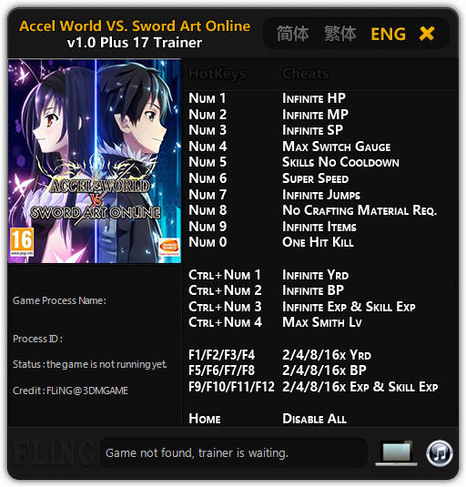 Accel World VS Sword Art Online Deluxe Edition Trainer Free