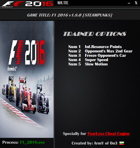 F1 2016 Trainer Free Download
